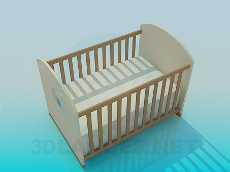 3d model Cot for baby - preview