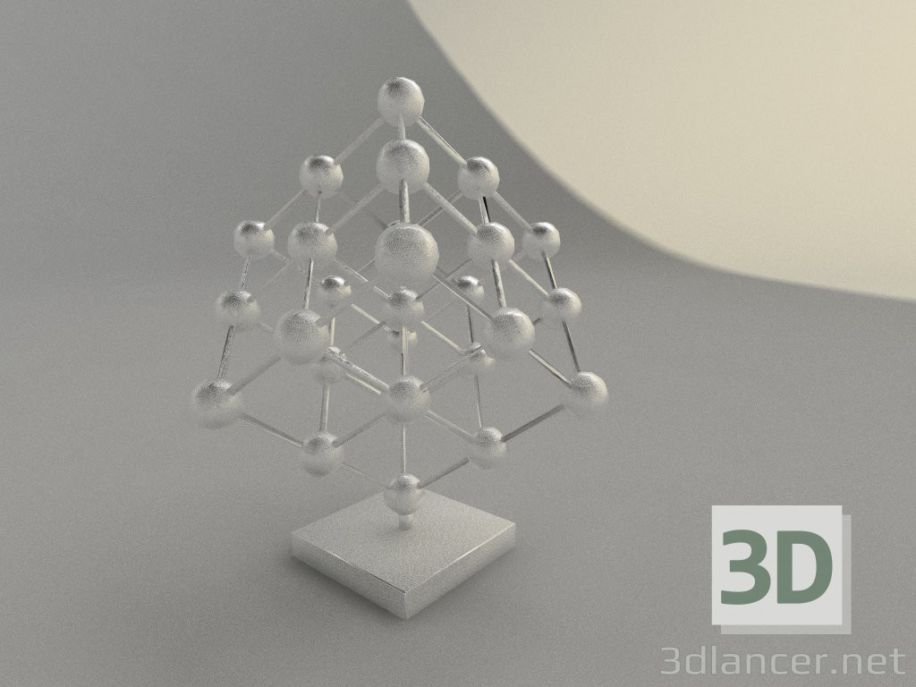 Cubes with one red cube isolated 3d model