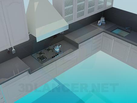 3d модель Серая кухня с вытяжкой – превью