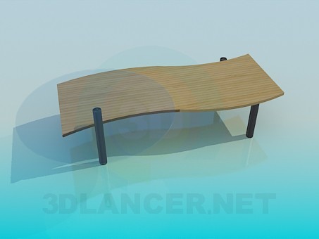 3d model Table with bench - preview