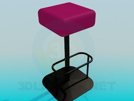 3d модель Квадратный табурет для бара – превью