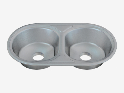 acier de l'évier de cuisine Duo (ZYD-0203 95 157)