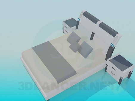 3d модель Кровать с прикроватными тумбочками – превью