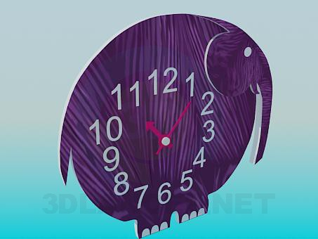 3d модель Часы-слон – превью
