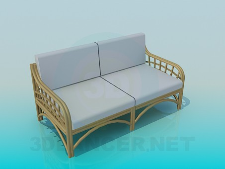 3d modeling Wicker Sofa model free download
