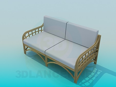 modelo 3D Sofá de mimbre - escuchar
