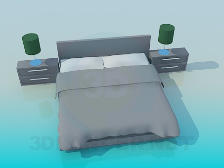 3d modeling double bed with cupboards model free download