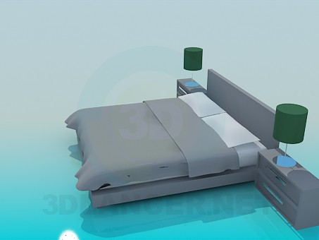 3d model Double bed with cupboards - preview