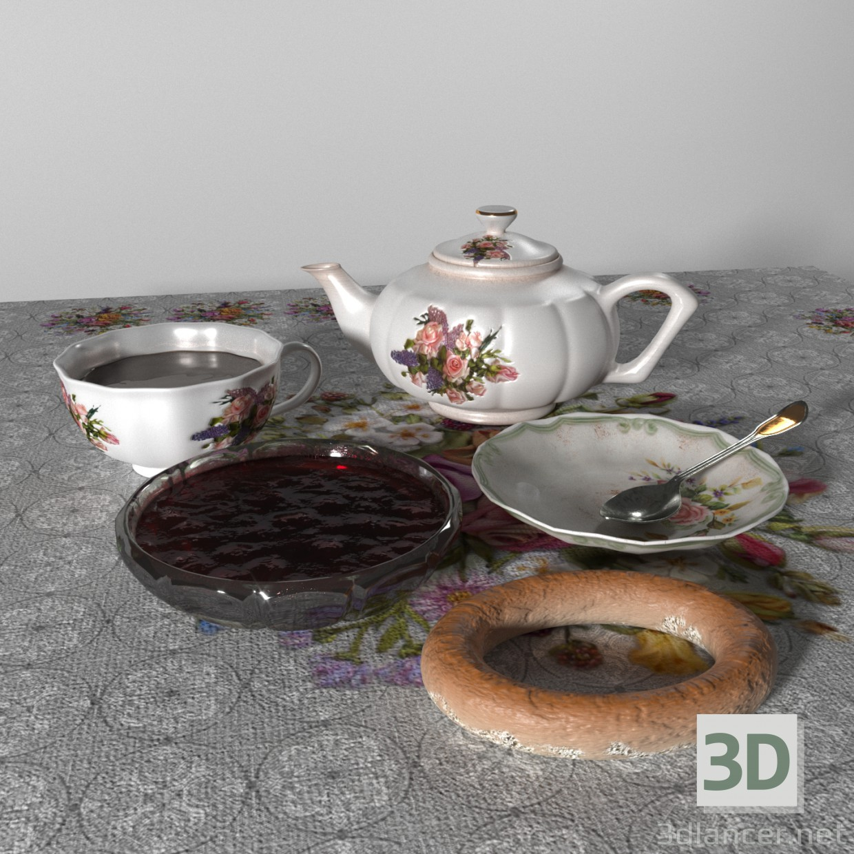 3d modeling Tea set model free download