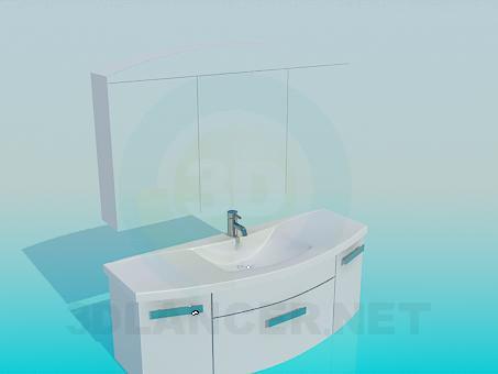 modelo 3D Lavabo con gabinete - escuchar