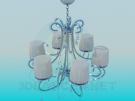 3d model Celebrity chandelier with corrugated lampshades - preview
