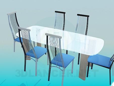 3d модель Скляний обідній стіл зі стільцями на металевою основою – превью