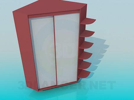 3d моделирование Угловой встроенный шкаф модель скачать бесплатно