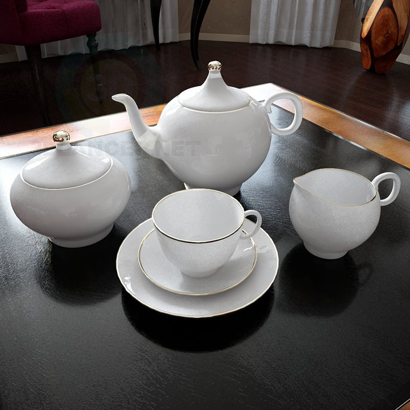 descarga gratuita de 3D modelado modelo juego de té