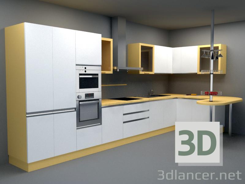 3D-Modell Voll ausgestattete Küche Stil Art-Deko ID 18241
