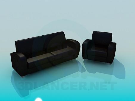 3d моделирование Кресло и диван в наборе модель скачать бесплатно