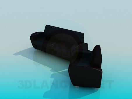 modelo 3D Conjunto de sillón y sofá - escuchar