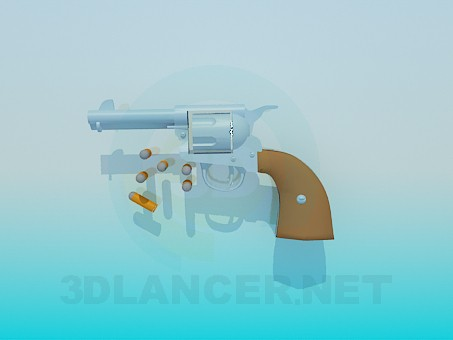 3d modeling Pistol with cartridges model free download