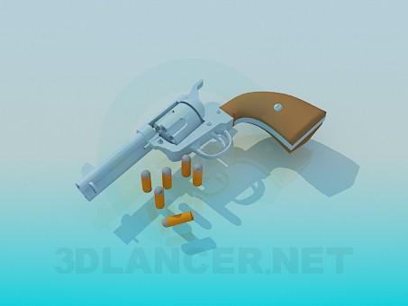 modelo 3D Pistola con cartuchos - escuchar