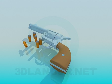 3d model Pistol with cartridges - preview