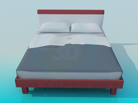 3d modeling Double bed model free download