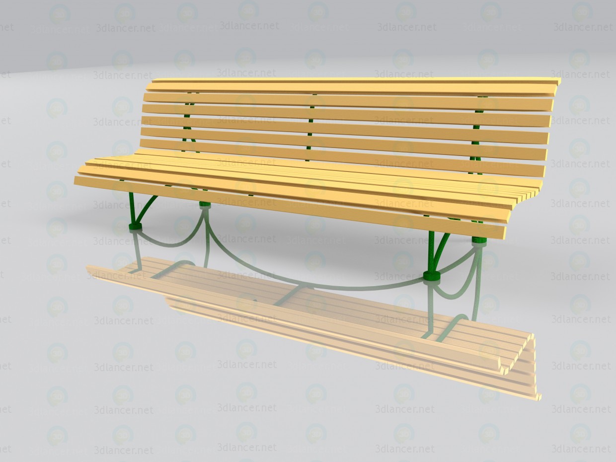 3d model Garden bench with reflection - preview