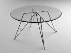 ग्लास कॉफी टेबल निकल पैरों पर