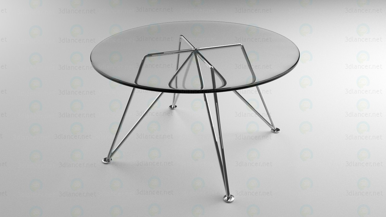 3d model Glass coffee table on nickel legs - preview