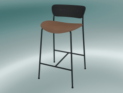 Bar stool Pavilion (AV8, H 85cm, 48х50cm, Black lacquered oak, Leather - Cognac Silk)