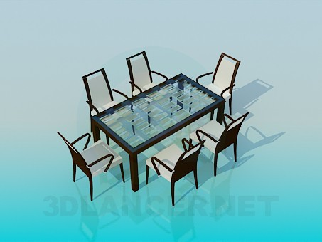 3d модель Комплект - стол со стульями – превью