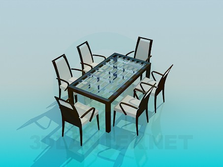 3d model Set-table with chairs - preview