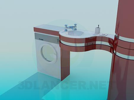 3d model Washbasin with counter - preview