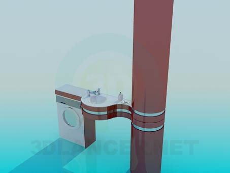 3d модель Умывальник со стойкой – превью