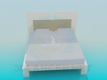 modelo 3D Cama doble - escuchar