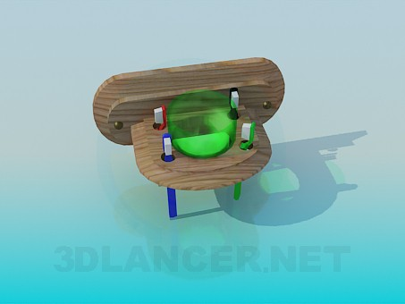 3d model Wooden toothbrush holder - preview