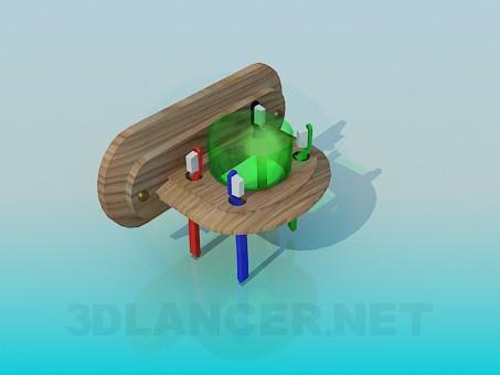 3d модель Деревянная подставка для зубных щеток – превью