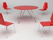 Red plastic table and chairs with metal legs