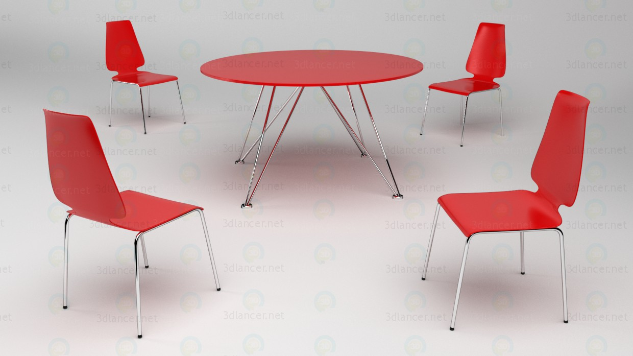 3d model Red plastic table and chairs with metal legs - preview