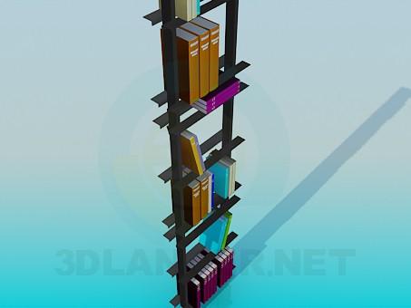 modelo 3D Librería con libros - escuchar