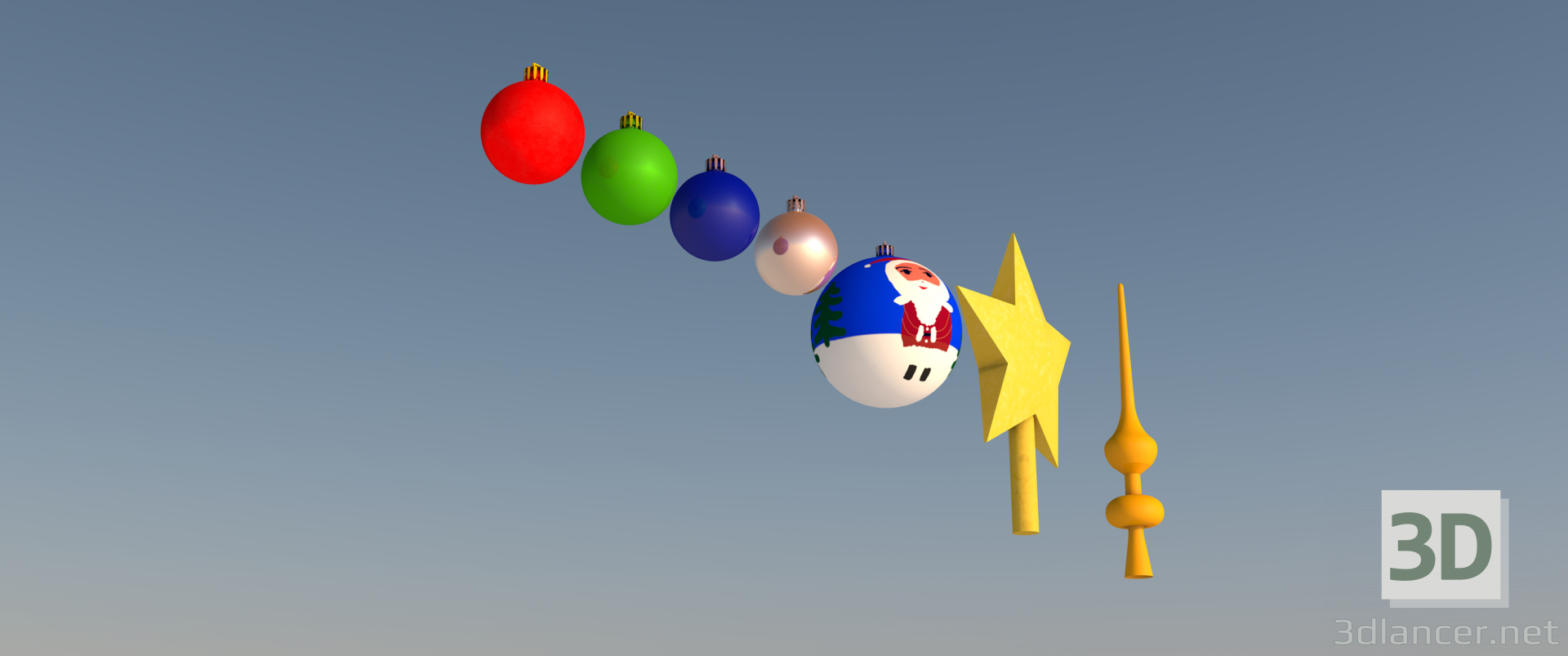 3d set of Christmas toys model buy - render