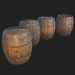 3d Barrel 4 texture sets model buy - render