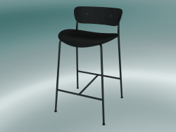 Bar stool Pavilion (AV8, H 85cm, 48х50cm, Black stained oak, Leather - Black Silk)