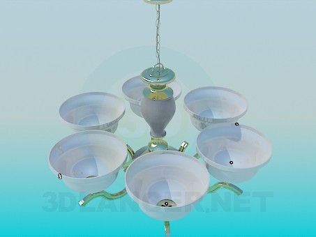 3d model Chandelier with ceiling paintings - preview