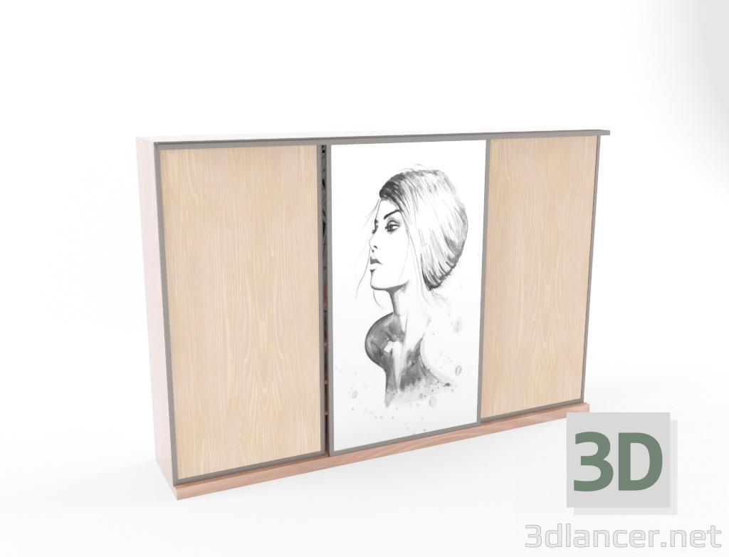 3d Sliding wardrobe model buy - render