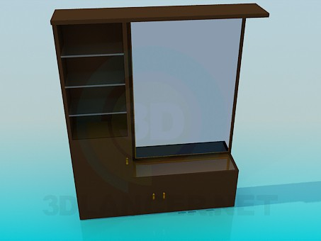 3d модель Шафа з дзеркалом для передпокою кімнати – превью