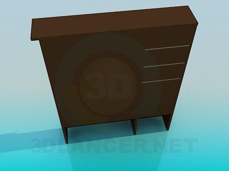 3d модель Шкаф с зеркалом для прихожей комнаты – превью