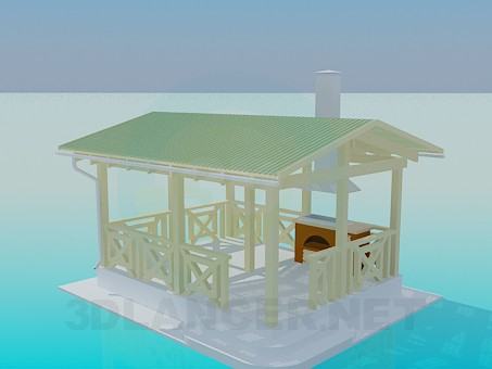 3d modeling A summerhouse with barbecue facilities model free download