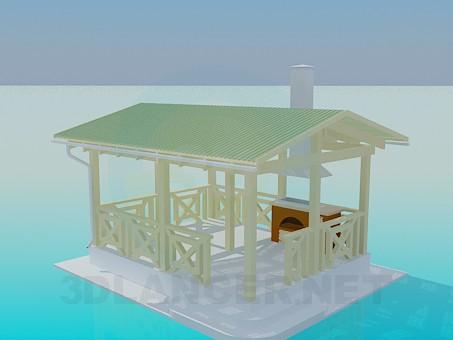 modelo 3D Un summerhouse con barbacoa - escuchar