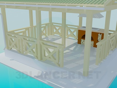 3d model A summerhouse with barbecue facilities - preview