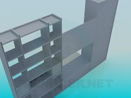 3d model wall unit - preview
